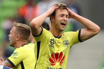 Matti Steinmann after missing a shot on goal during the match between the Melbourne Victory and the Wellington Phoenix at AAMI Park earlier this season.