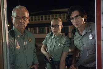 Bill Murray (left) as Officer Cliff Robertson, Chloe Sevigny as Officer Minerva Morrison and Adam Driver as Officer Ronald Peterson have a town full of zombies on their hands in The Dead Don't Die.