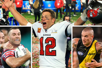 Leading lights: Rooster James Tedesco, NFL star Tom Brady and Richmond's Dustin Martin.