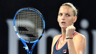 Karolina Pliskova of the Czech Republic is seen celebrating against Lesia Tsurenko of Ukraine during the final of the Brisbane International tennis tournament.