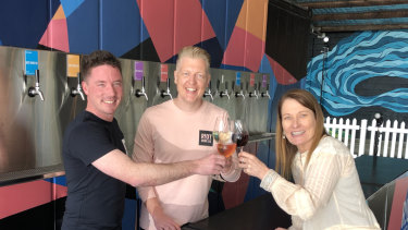 Riot Wine co-founders Tom O'Donnell and Joe Cook, with Rose Scott from CUB.