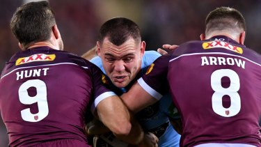 Iron man: David Klemmer was immense for the Blues in the first half.