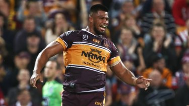 Leading from the front row: Payne Hass was instrumental in Brisbane's win over the Roosters.