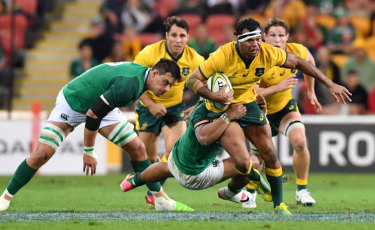 Mixed fortunes: Kurtley Beale helped Australia to their best win of 2018, against Ireland in Brisbane, but by the end of the year had lost his place in the side because of ill discipline.