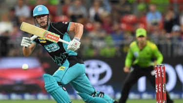 Old school: Chris Lynn at his devastating best for Brisbane Heat against Sydney Thunder at Spotless Stadium.