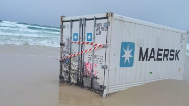 A Maersk shipping container on the southern end of Moreton Bay.