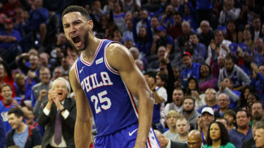 Ben Simmons reacts to a dunk in the 76ers' win over Boston.