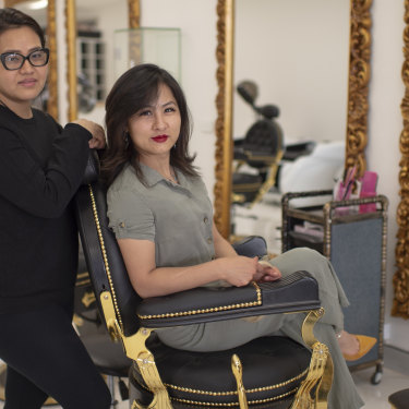 Bella O'Keefe, manager of Bella Hair & Laser (seated), with employee Sarmila Dallakoti.