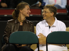 Bill and Melinda Gates in 2001 at a tennis match in Seattle.