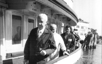 Justice Henry Staunton inspected the ferry Kirrawee at Birchgrove dockyards on May 3, 1984.