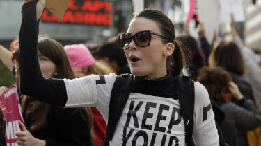 A demonstrator shouts slogans during a rally in support of abortion rights in Los Angeles.