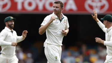 Josh Hazlewood finished with six wickets in the Gabba Test.