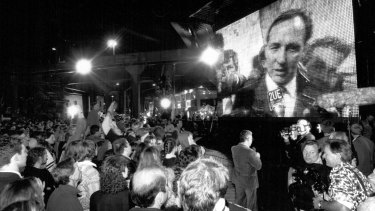 Prime Minister Paul Keating on screen after the winning bid announcement, September 23, 1993.