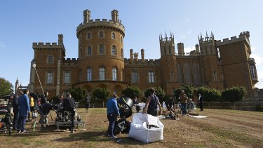 Filming episodes from season three of The Crown on the grounds of Belvoir Castle.