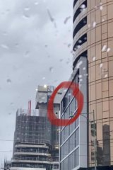 A metal panel came loose on June 10 during severe weather.