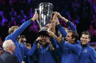 Team Europe lift the Laver Cup.