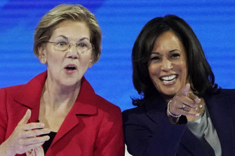 Former presidential candidates now potential running mates to Joe Biden, Senators Elizabeth Warren, left, and Kamala Harris.