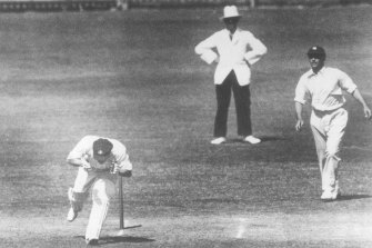 Australian cricketer Bert Oldfield is struck in the head by Harold Larwood during the Bodyline series.