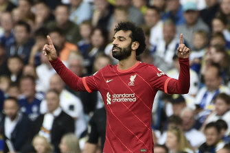 Liverpool's Mohamed Salah celebrates scoring against Leeds at Elland Road.