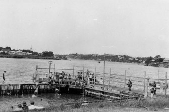 Taking a dip at Mowbray Park, East Brisbane in the 1920s.