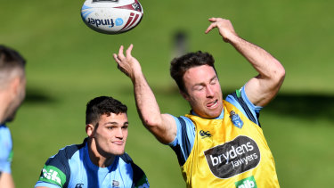 James Maloney throws an audacious pass on his return to the Blues squad for Sunday's Origin II.