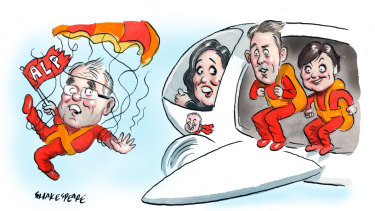 Labor MPs Chris Minns and Jodi McKay preparing to take the big jump to become NSW Labor leaders. Illustration: John Shakespeare