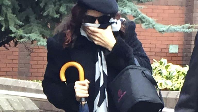 Convicted neo-Nazi Claudia Patatas, leaves Birmingham Crown Court on Monday.