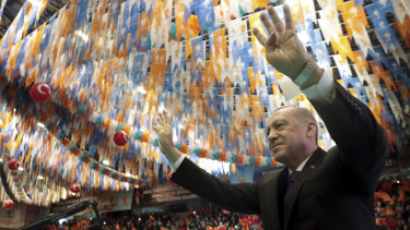 Turkey's President Recep Tayyip Erdogan salutes his supporters at a rally in the Black Sea city of Ordu on Sunday.