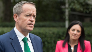 Bill Shorten with Emma Husar in 2016. Ms Husar said the Labor leader, who has been her political champion, did not influence her decision to not run again.