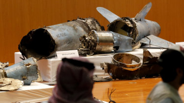 The Saudi military displays what they say are an Iranian cruise missile and drones used in the recent attack.