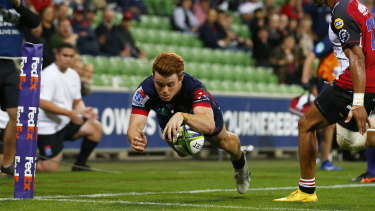 Andrew Kellaway goes over for the Rebels in their win over the Lions.