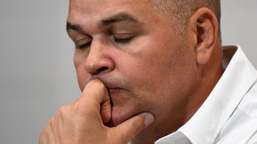 Broncos coach Anthony Seibold reacts during a press conference after Brisbane lost to the Gold Coast.
