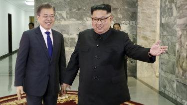 South Korea's Moon Jae-in with Kim Jong-un in North Korea last month.