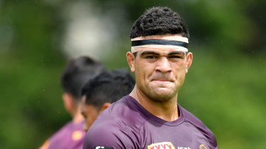 David Fifita at Brisbane Broncos training at Clive Berghofer Field in Brisbane earlier this month.