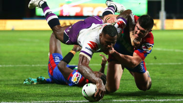 Vunivalu scores for the Storm on Saturday night.