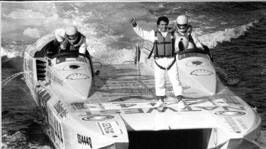 Stefan Ackerie rides on the powerboat 'Jaegar Paris' before a race in 1990.