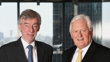Lindsay Maxsted (left) and his replacement as the next Westpac chairman, John McFarlane.