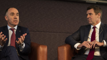 NAB chief executive Andrew Thorburn (left) and Mike Baird.