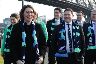 FA chief executive James Johnson with NSW Premier Gladys Berejiklian on the morning after the 2023 Women's World Cup hosting rights were awarded to Australia and New Zealand.