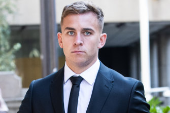 Callan Sinclair outside court during the trial.