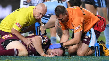 Morgan was left convulsing on the ground after copping a stray elbow from teammate Josh McGuire in the second half.