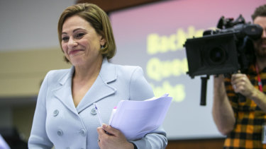 Treasurer Jackie Trad in the 2019 Queensland budget lockup.