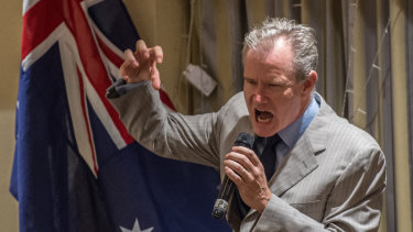 Ross Cameron at a fundraising dinner for the far-right Q Society in February 2017.