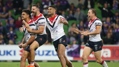 Latrell Mitchell kicked his matchwinner at the perfect time