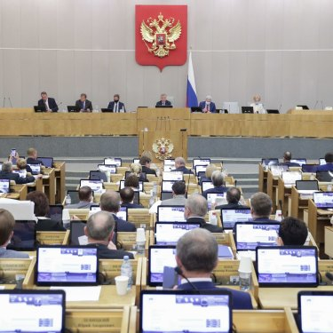 A session of the Duma, Russia's lower house of parliament, in May 2021.