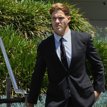 Jack de Belin leaves Wollongong court recently.