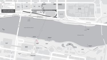 The position of the bridge along the Brisbane River.
