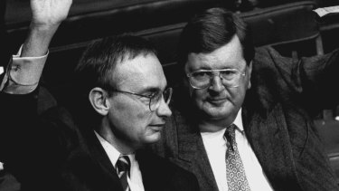 Former premier Bob Carr and Paul Whelan at Labor's 1994 state conference.