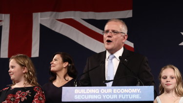 Prime Minister Scott Morrison speaks to Liberal Party supporters at his election party.