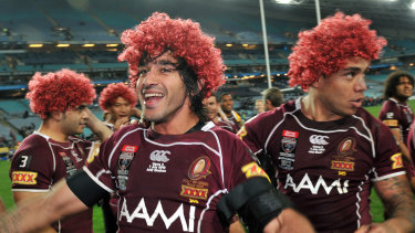 The Queenslanders celebrate a comprehensive series win.